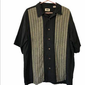Haggar 100% Silk Short Sleeve Button Down Shirt, L